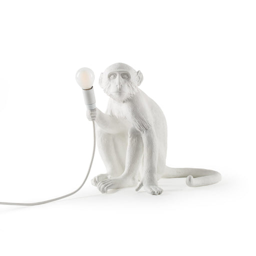 SITTING MONKEY <br>INDOOR LAMP <br> WHITE