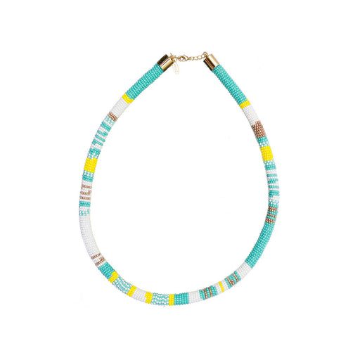 TUBE NECKLACE <br>Turquoise and White