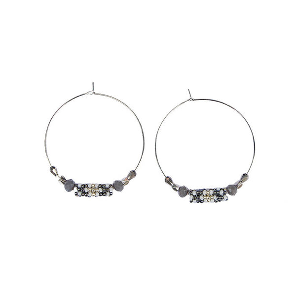 Hoop Earrings <br>Grey And Silver
