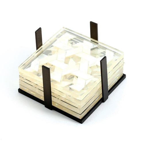 CLEAR COASTER SET <br>Clear/Mother of pearl