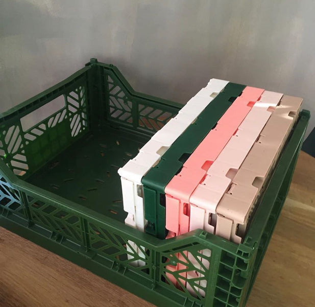 FOLDING CRATE <br> DARK GREEN <br> (L 40 x W 30 x H 14) CM