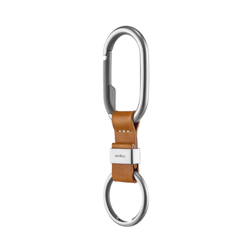 ORBITKEY CLIP <br> SILVER TAN WITH WHITE STITCHING