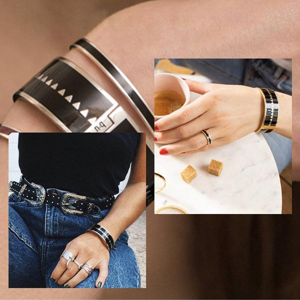 BOLLYSTUD BRACELETS <br> BLACK MEDIUM/LARGE
