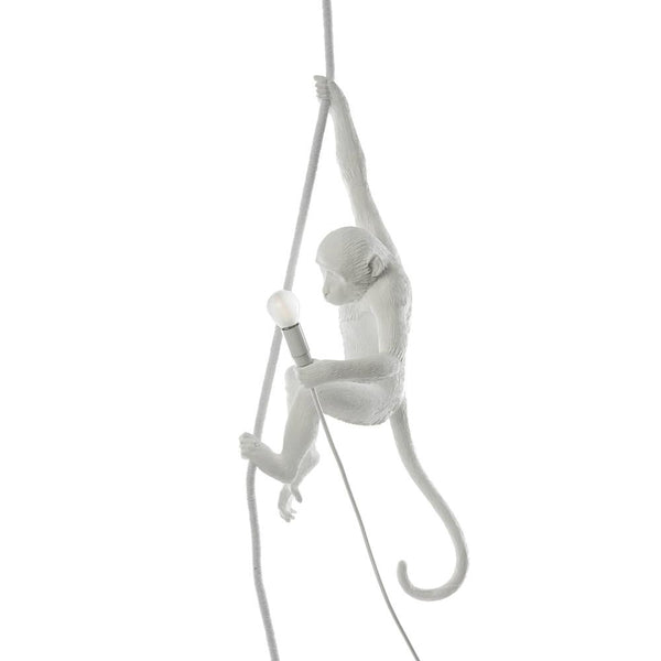 MONKEY WITH ROPE<br>INDOOR LAMP <br> WHITE