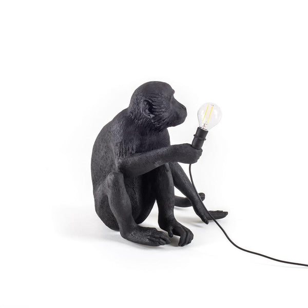 SITTING MONKEY LAMP <br> BLACK