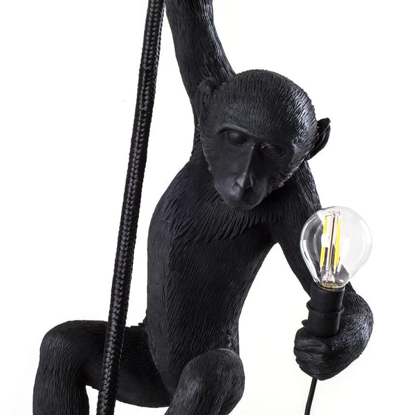 Monkey Lamp With Rope <br> Black