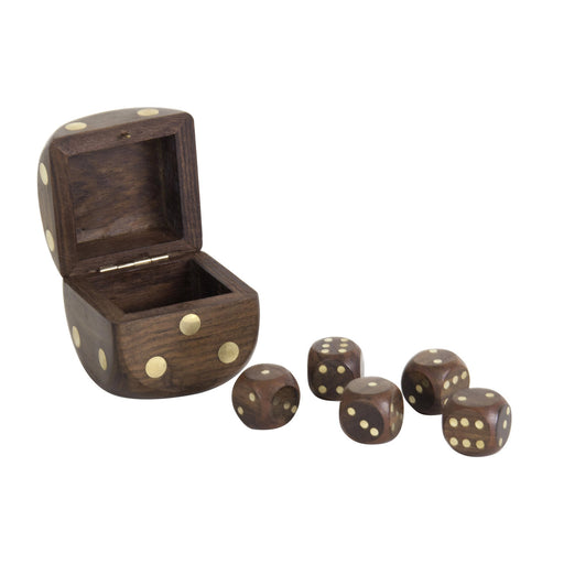Dice Box with 5 Dices <br>Brass