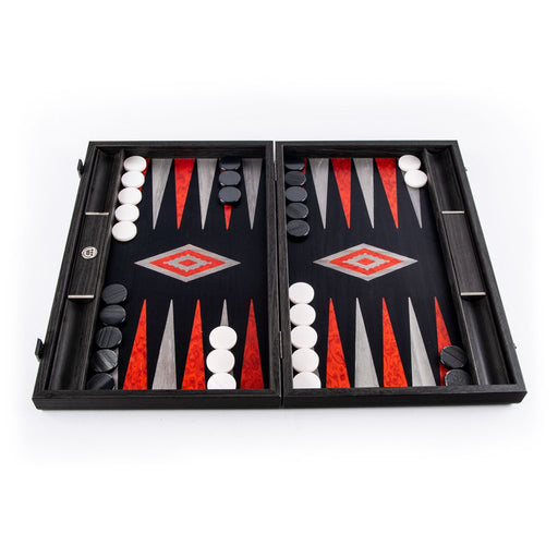 BLACK OAK<br>WITH SILVER STRIPES<br>BACKGAMMON