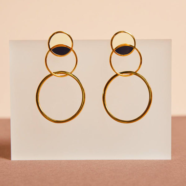 Sonia Earrings <br> White Sand / Night Blue