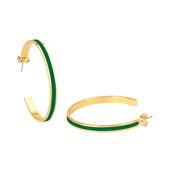 Bangle Hoop Earrings <br> Emerald Green