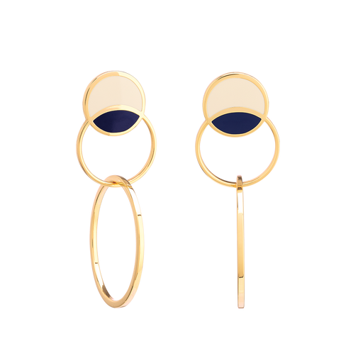 SONIA EARRINGS <br>WHITE SAND / NIGHT BLUE