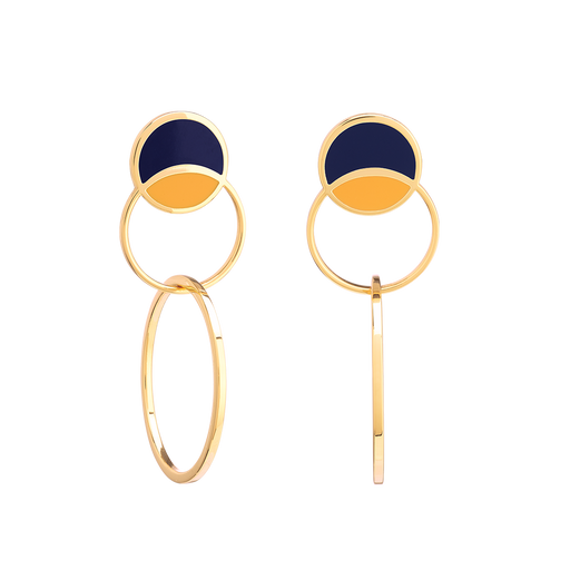 SONIA EARRINGS <br>NIGHT BLUE / SAFFRON YELLOW