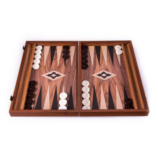 WALNUT REPLICA WOOD WITH SIDE RACKS <br> BACKGAMMON <br> (30 x 20) cm