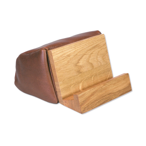 BOOK & TABLET STAND <br>BROWN OAK