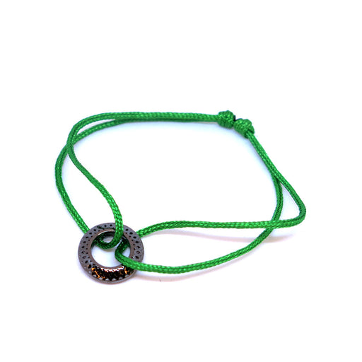 BLACK GOLD PENDANT<br> LIME GREEN SILK CORD