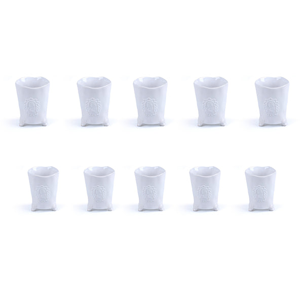 Motif Vase In White <br> Set of 10