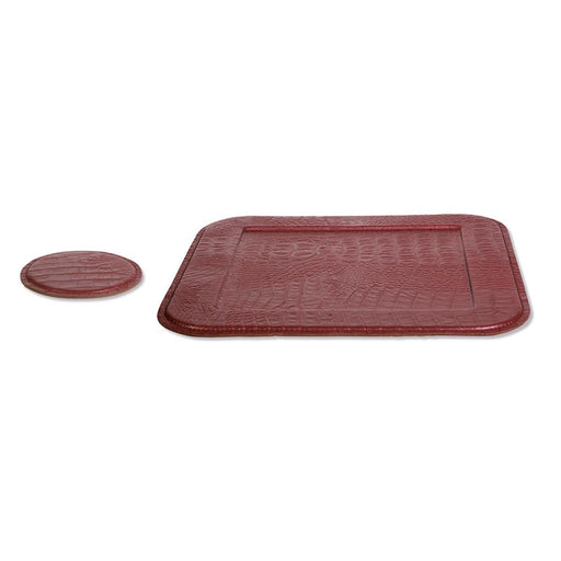 Coasters & Serving Tray <br> Croco Ruby Red <br> Set Of 2