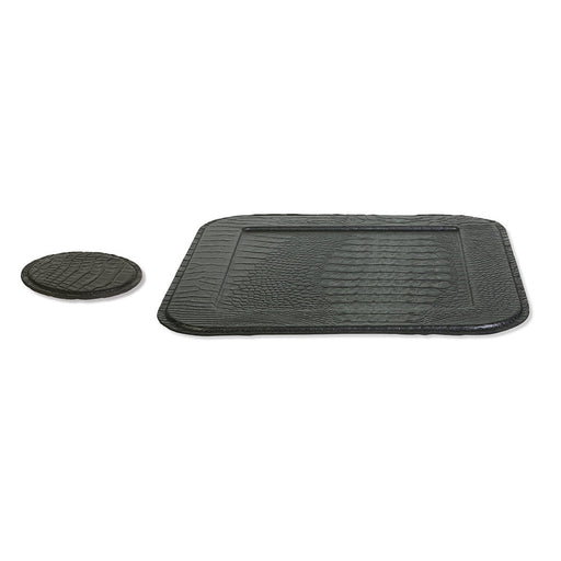 Croco Black Coasters & Tray