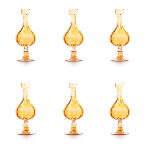 Amber Spherical Vases <br> Set Of 6