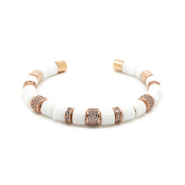 BEADED BANGLE<br> WHITE / ROSE GOLD