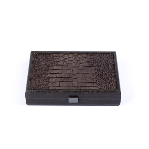 Domino Game <br> Dark Brown Leather Croc Tote Wooden Case <br> (24 x 16) cm