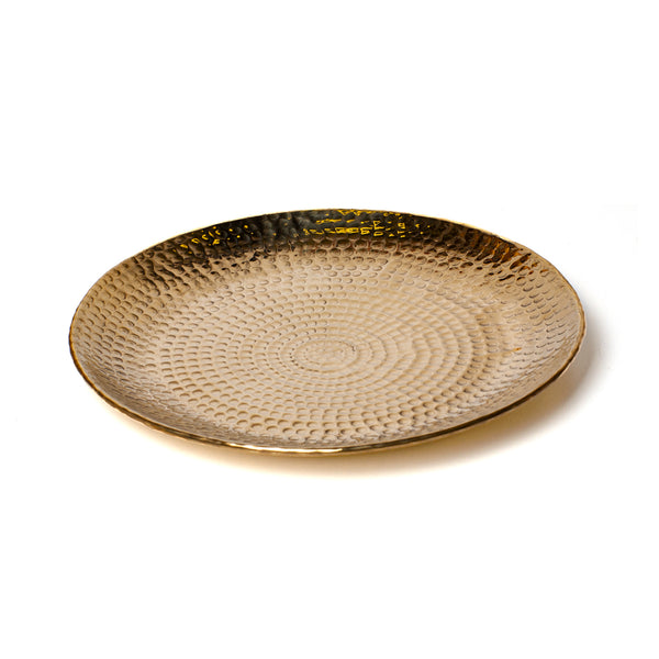 SERVING TRAY <br> POLISHED GOLD <br> Ø 33 CM