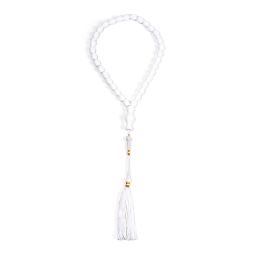 SUBHA <br> WHITE / GOLD <BR> LONG TASSEL