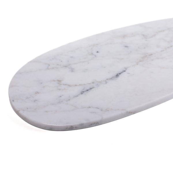 Marble Oval Tray <br> White <br> (L 45.5 X W 19) cm