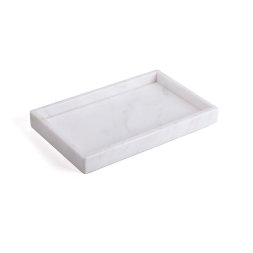MARBLE TRAY WITH BORDER <br> WHITE <br> (L 27 x W 17) CM