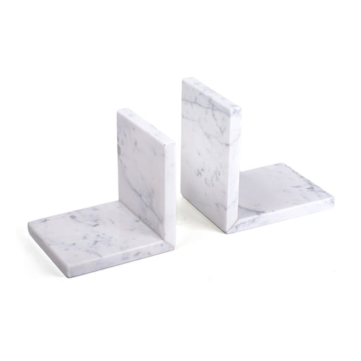 Marble Bookends <br> White <br> Set Of 2
