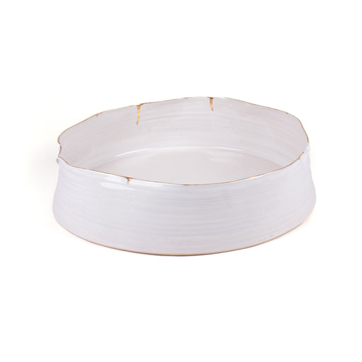 Wheel Round Bowl <br> White <br> (L 36 x W 35 x H 9) cm