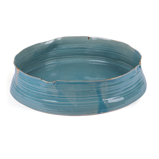 Wheel Round Bowl <br> Blue <br> (L 45 x W 42 x H 10) cm
