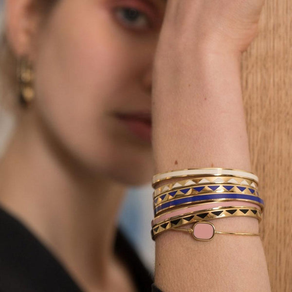BOLLYSTUD THIN CUFFS <BR> CERAMIC BLUE