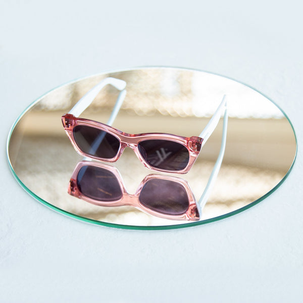 DAMIS <br> PASTEL PINK CRYSTAL WITH MAUVE LENSES
