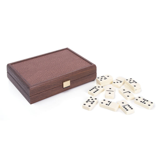 Domino Game <br> Caramel Leatherette Wooden Case <br> (24 x 16) cm