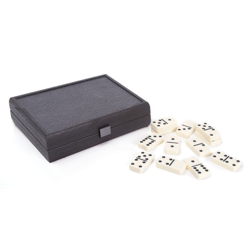 Domino Game <br> Dark Grey Leatherette Wooden Case <br> (24 x 16) cm