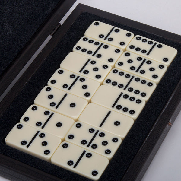 Domino Game <br> Dark Brown Wooden Case <br> (24 x 16) cm