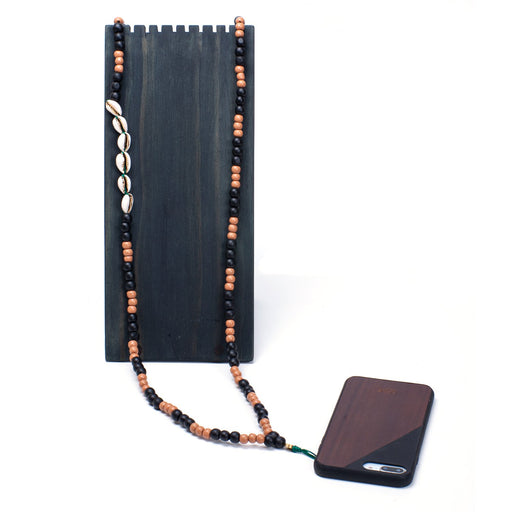 SHELL / WOOD <br> PHONE NECKLACE