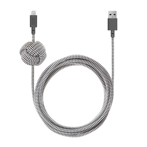 Night Cable Zebra <br> USB-A to Lightning <br> 3 m