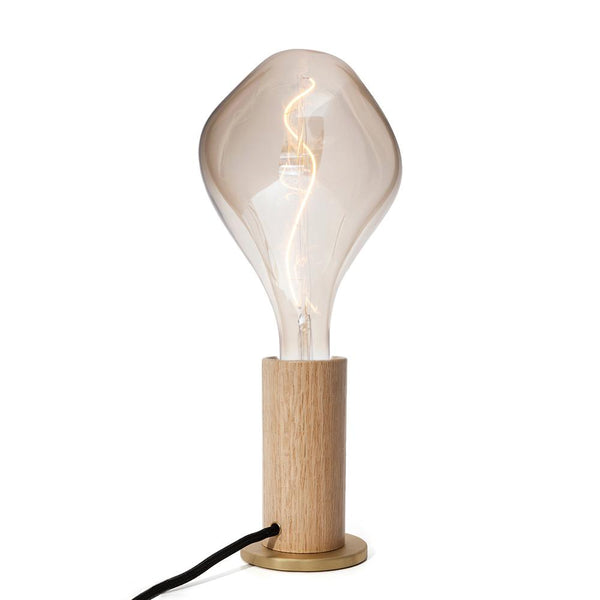 OAK TOUCH LAMP WITH GLASS BULBS