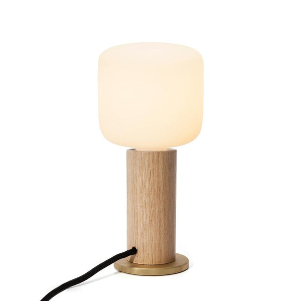 OAK TOUCH LAMP with Porcelain Bulbs