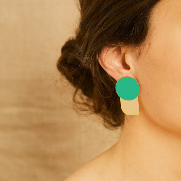 Arty Earrings<br> Opal Green