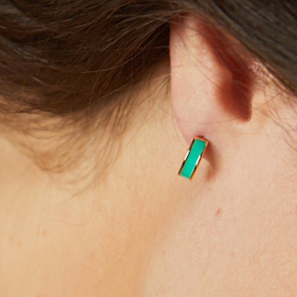 MINI HOOP EARRINGS <br> OPAL GREEN