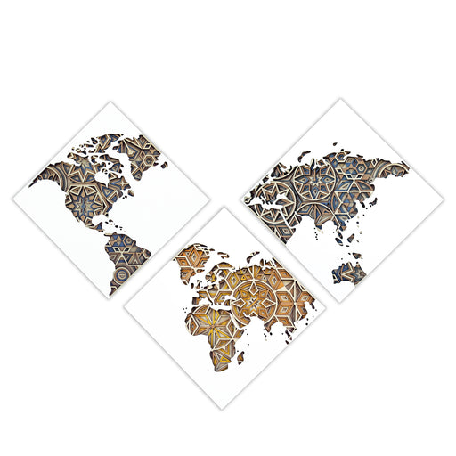 WORLD MAP <br> WALL ART <br> SET OF 3