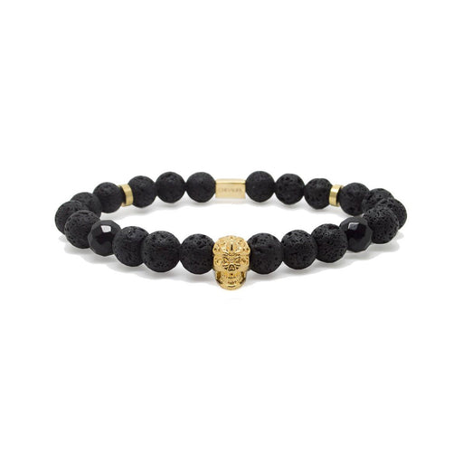 SKULL BEADED BRACELET <br> GOLD / BLACK