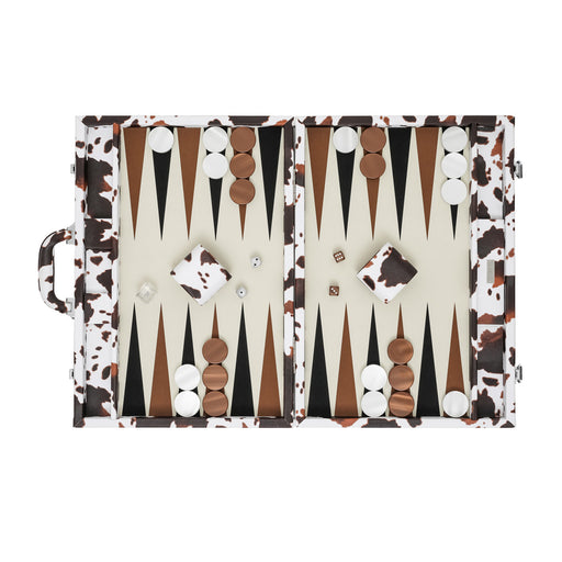 Cow Skin  <br> Backgammon Set with Handle <br>  (L 52 x W 36) cm
