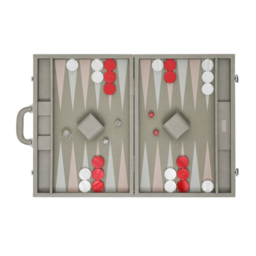 Light Grey Elephant  <br> Backgammon Set with Handle <br>  (L 52 x W 36) cm