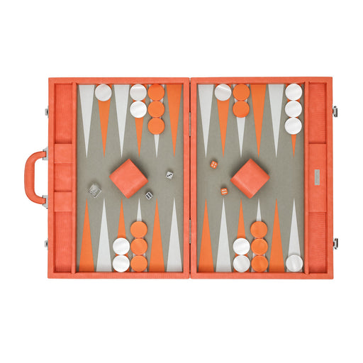 Orange Lizard  <br> Backgammon Set with Handle <br>  (L 52 x W 36) cm