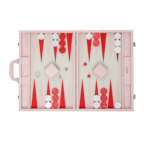 Pink Lizard  <br> Backgammon Set with Handle <br>  (L 52 x W 36) cm