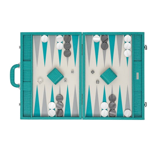 Turquoise Alligator  <br> Backgammon Set with Handle <br>  (L 52 x W 36) cm